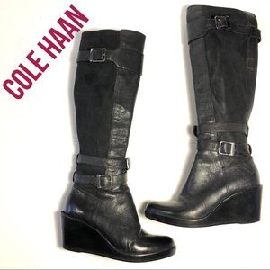 COLE HAAN Patricia tall wedge boots black 5.5 EUC